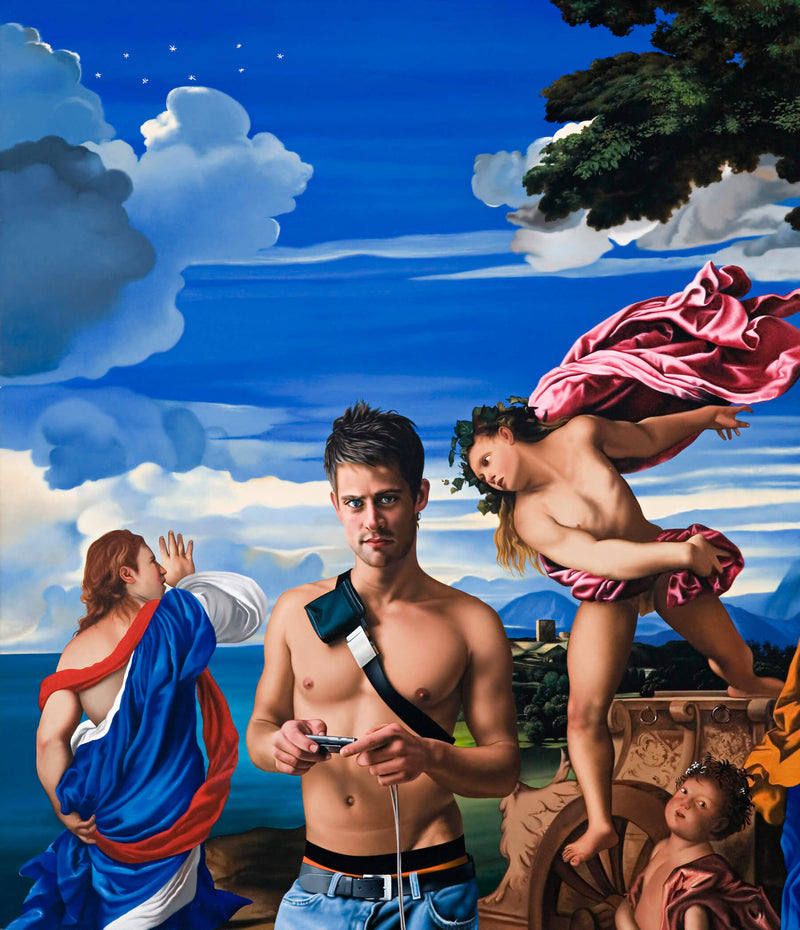 Ross Watson painting of shirtless man with camera with dramatic scene from Titian painting of angels in robes and putti