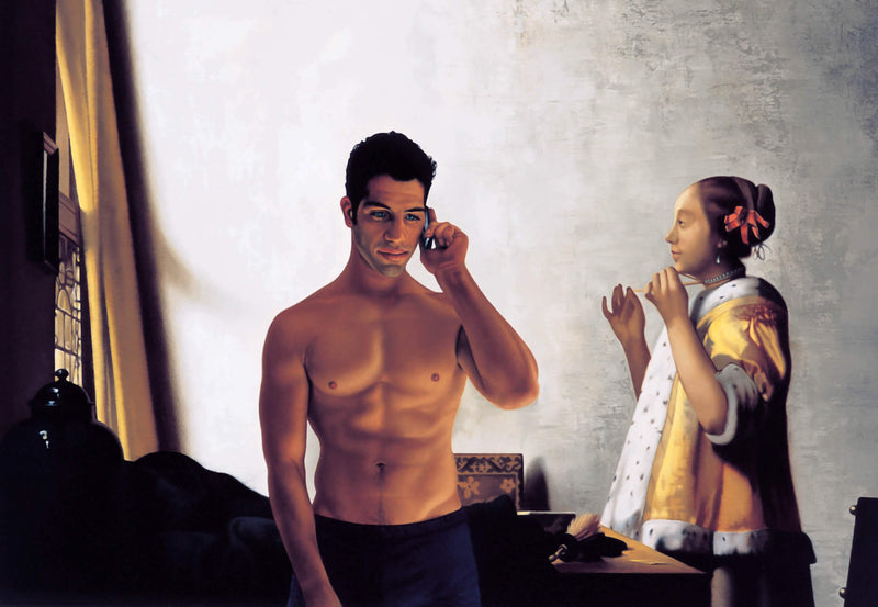 Ross Watson painting of man using phone standing in Vermeer painting of a lady in her study