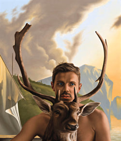 Ross Watson painting of Jake Shears holding dear with landscape at dusk by Pynacker