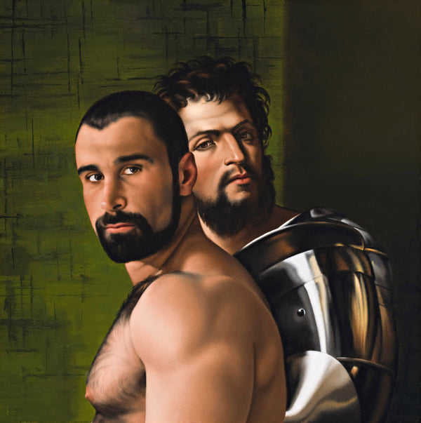 Ross Watson painting of Alex Baresi in front of bearded man in armour by Sebastiano