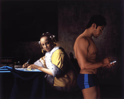 Ross Watson painting of man in profile in underwear using phone with Vermeer painting of woman writing letter in background