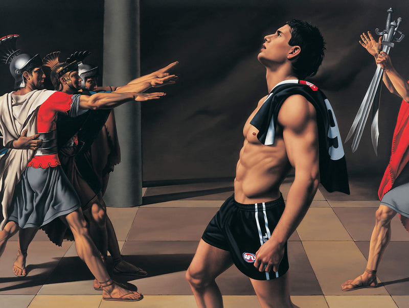 Ross Watson painting of shirless footballer Brodie Holland incorporated into painting of soldiers by David