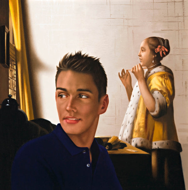 Ross Watson painting of young man in blue shirt in front of Vermeer's portrait of lady in yellow