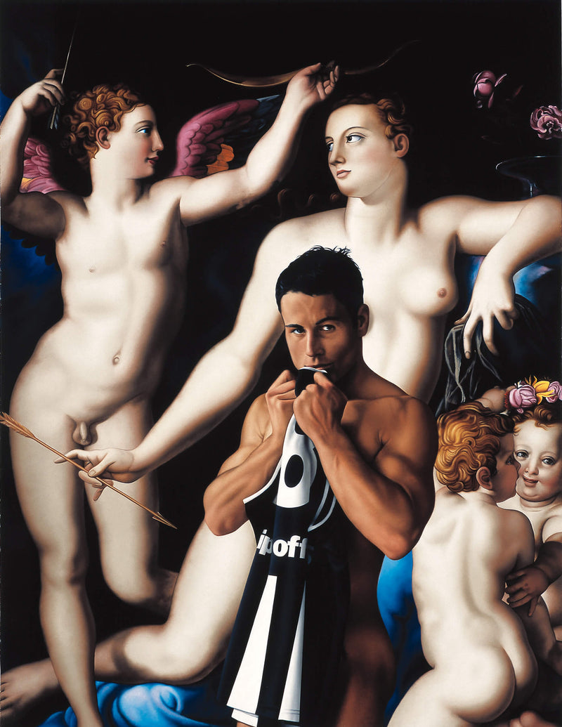 Ross Watson painting of naked Paul Licuria holding geurnsey to mouth in front of Bronzino inspired angels