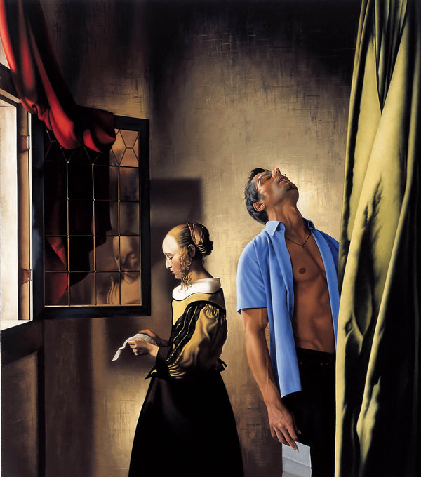 Ross Watson painting of man in open blue shirt standing next to Vermeer inspired portrait of woman reading letter