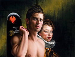 Ross Watson painting of shirtless man holding skateboard in front of Reuben's portrait of spanish royalty