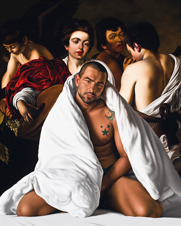 Ross Watson painting on Marco Da Silva wrapped in white blanket referencing Caravaggio's four musicians