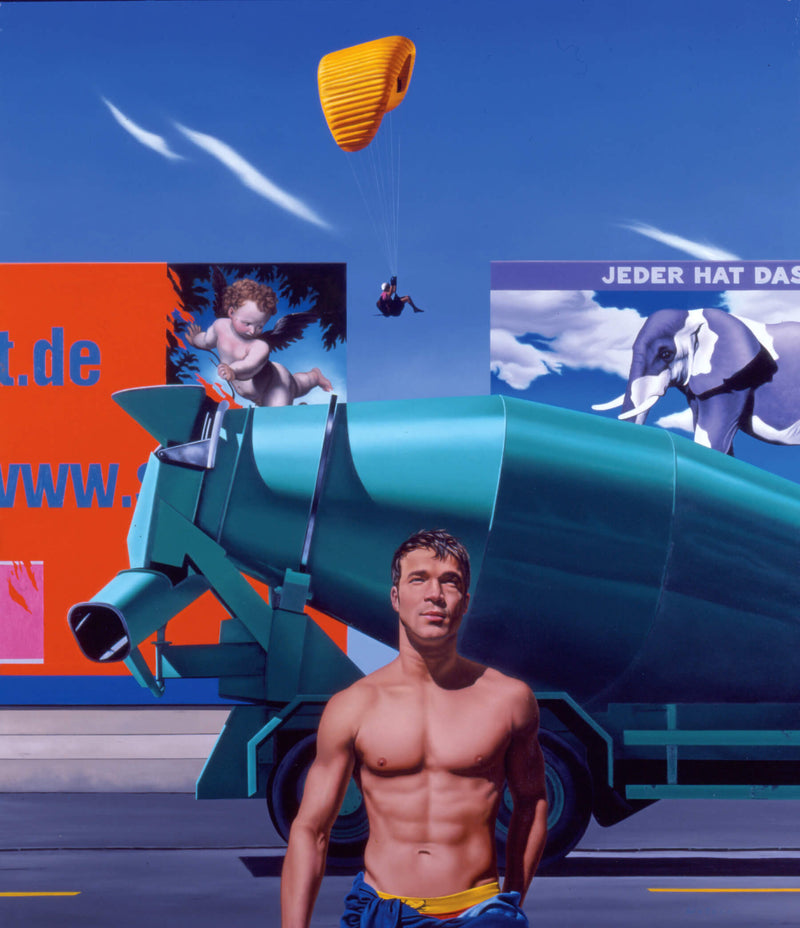 Surrealist Ross Watson painting of shirtless man in front of concrete mixer with billboards from Germany featuring a purple elephant and a parachutist in the sky