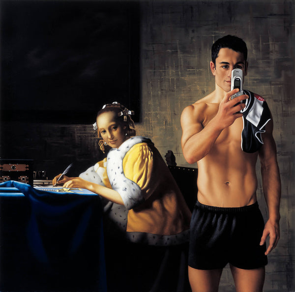 Ross Watson painting of shirtless footballer Paul Licuria using phone in front of Vermeer inspired portrait of lady writing letter
