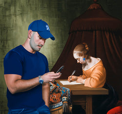 Ross Watson painting of Louie Larrinaga in blue t-shirt and hat with Ter Boch reference of woman writing letter at desk