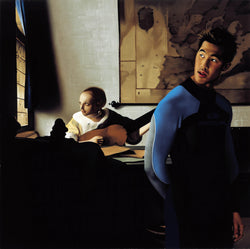 Ross Watson painting of man in wetsuit in front of Vermeer inspired portrait of woman playing the lute
