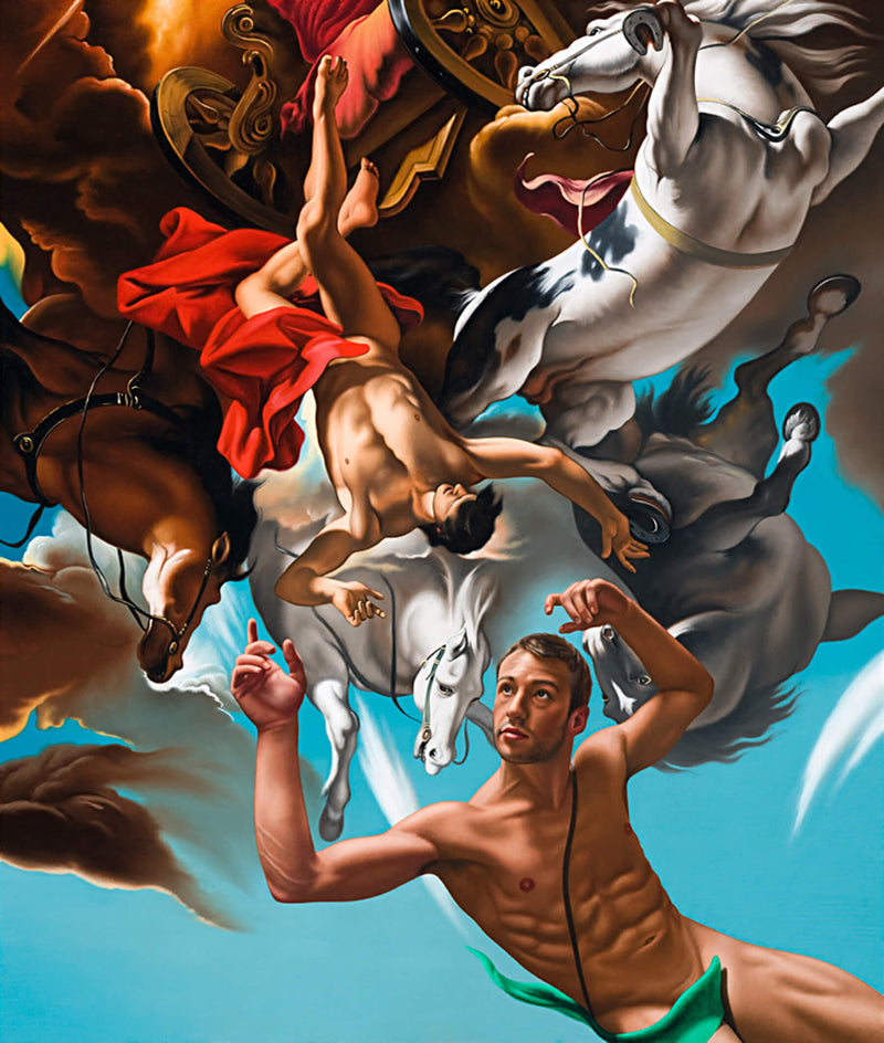 Ross Watson painting of Matthew Mitcham in classical reference by Ricci of pheaton falling to earth with white horse