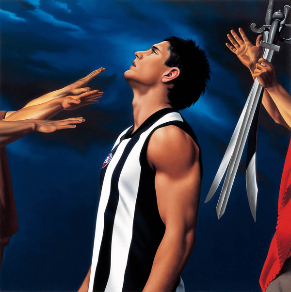 Ross Watson painting of Footballer Brodie Holland in collingwood guernsey with swords depicted behind his back and hands toward his face