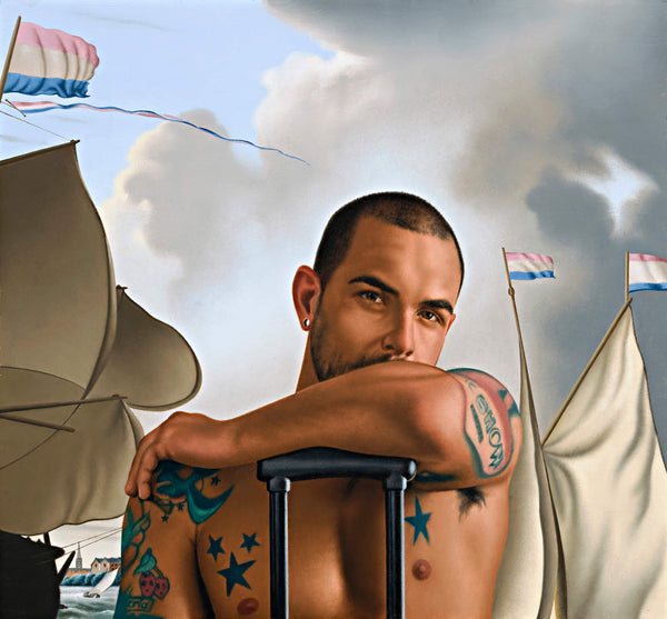 Ross Watson painting of shirtless Marco Da Silva leaning on suitcase handle with classical reference of ship's sails flying french flag by Bakhuysen