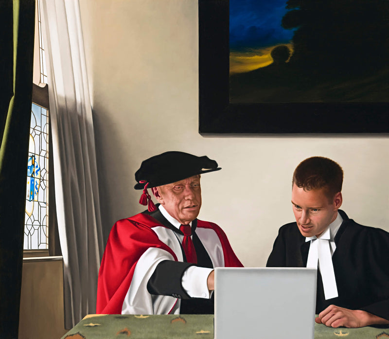 Ross Watson painting of Michael Kirby and Dean Allright in legal robes in room inspired by Vermeer