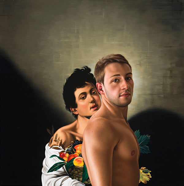Ross Watson painting of Matthew Mitcham shirtless in front of Caravaggio inspired boy with basket of fruit