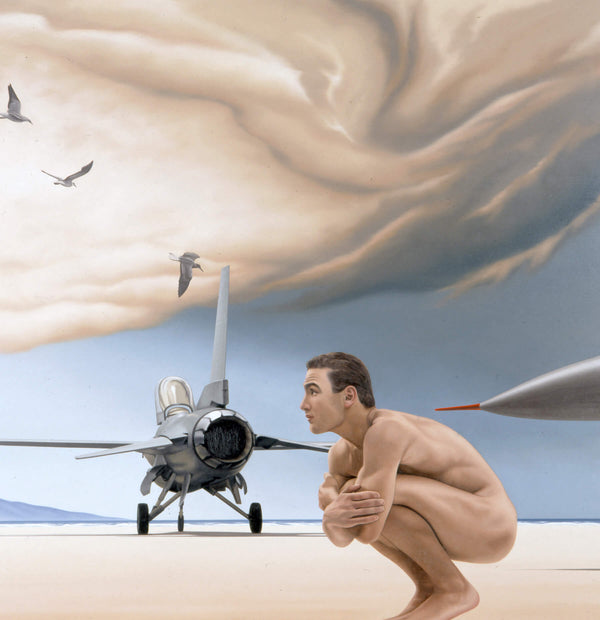 Surrealist painting of a naked man on a beach squatting with a fighter jet and birds in the background