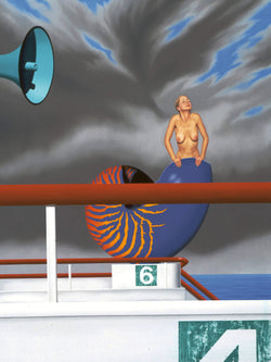 Surrealist painting of woman emerging from oversized nautilus shell in a stormy sky on top of boat with speaker in foreground
