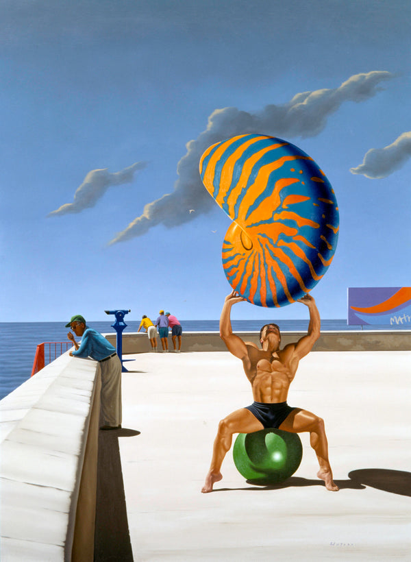Surrealist painting of man sitting on rubber ball at beachside location holding a giant nautilus shell over his head
