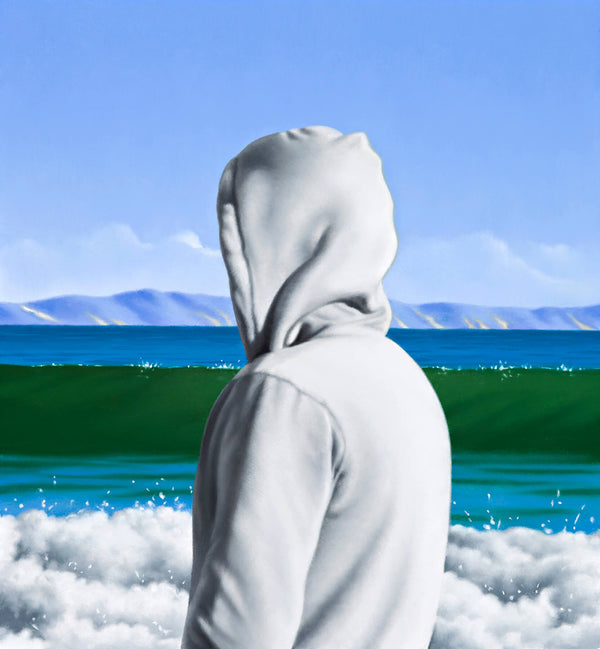 Ross Watson painting of a person wearing white hoody at the beach