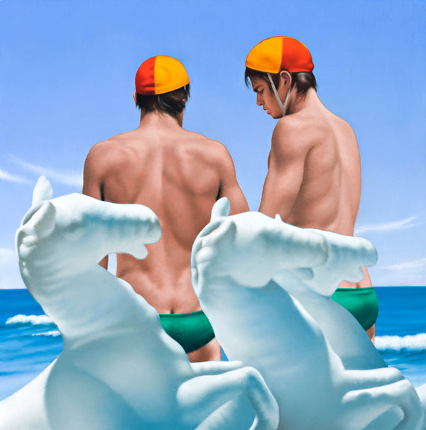Ross Watson painting of twin lifesavers wearing red and yellow caps and green speedos behind three white inflatable horses