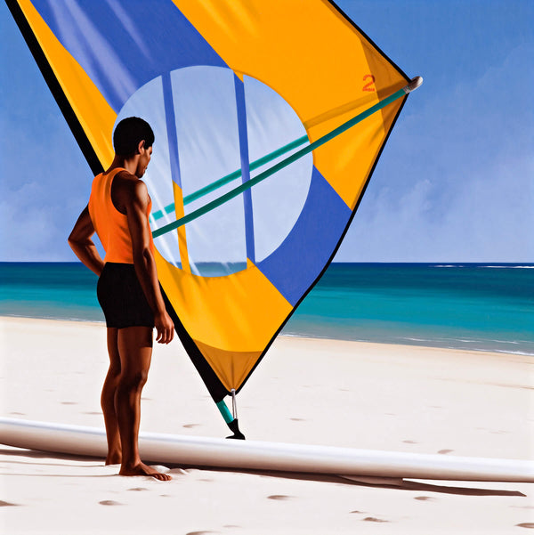 Ross Watson painting of black man in orange singlet standing on beach in front of windsurfer with yellow and blue sail