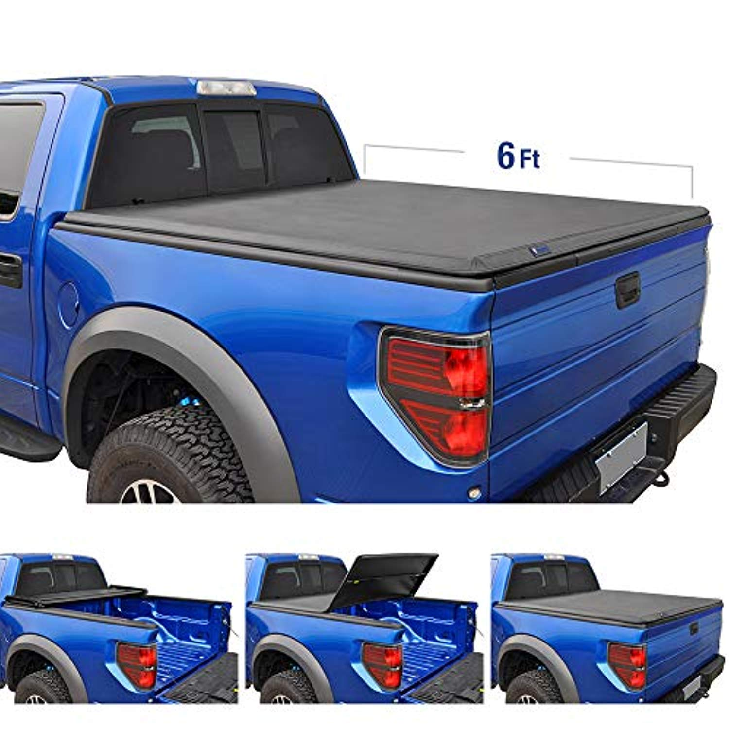 TRI-FOLD Truck Bed Tonneau Cover 2005-2018 Nissan Frontier; 2009-2014 Suzuki Equator | Fleetside 6' Bed | For models with or without the Utili-track System