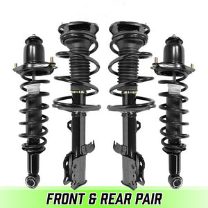 Front & Rear Complete Struts & Coil Spring Assemblies for 2003-2008 Corolla FWD