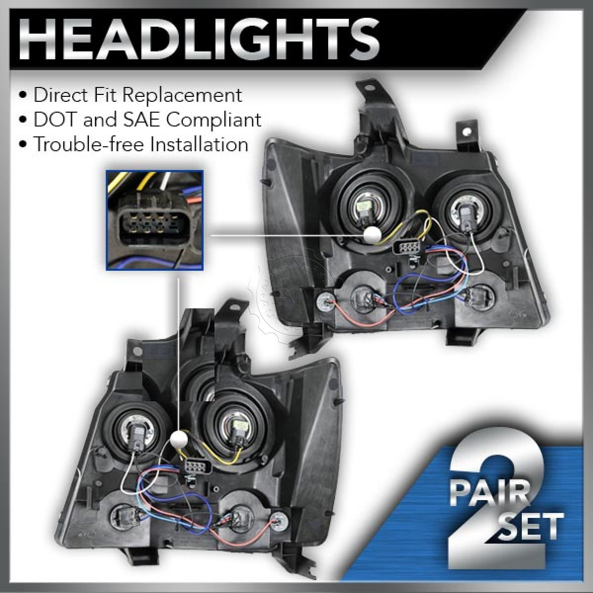 Headlights Headlamps Pair Set of 2 for 07-14 Chevy Suburban Tahoe Avalanche New