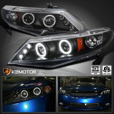06-11 Honda Civic 4-Door Sedan LED Halo Projector Headlights Black Pair