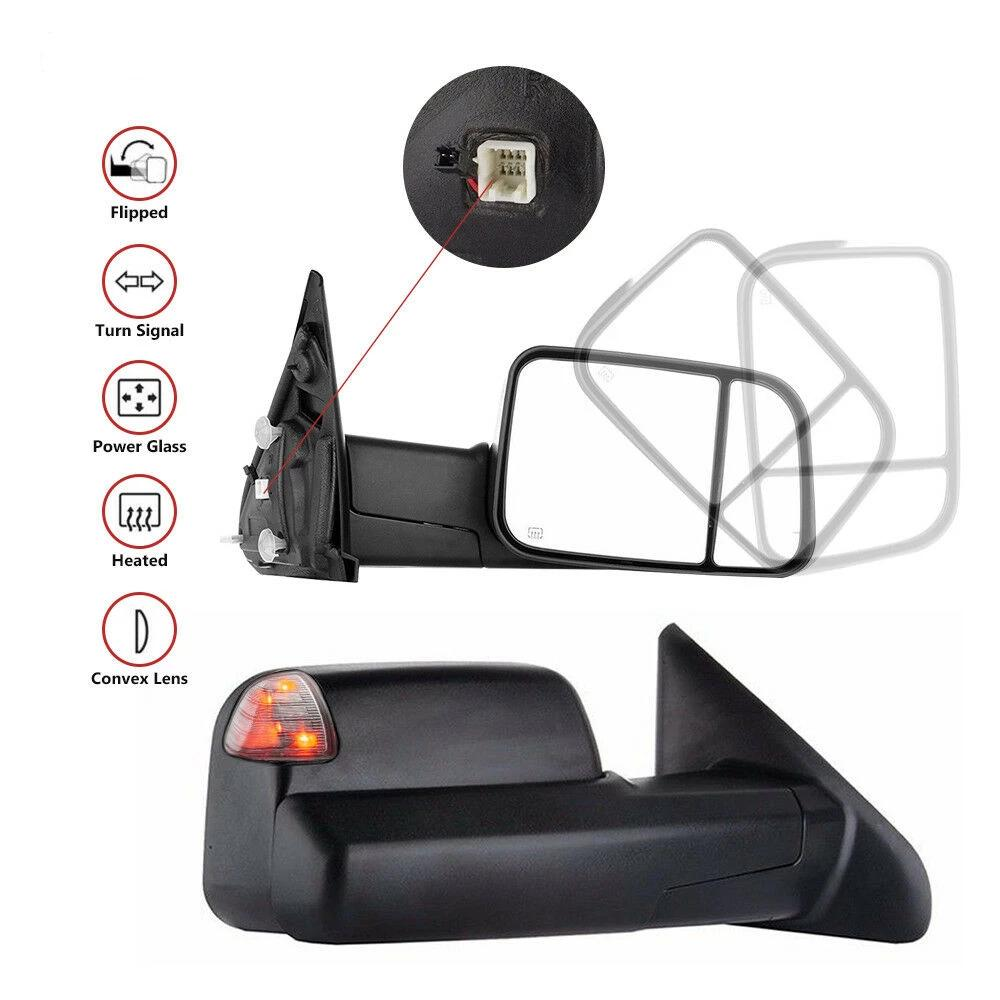 FOR 98-02 DODGE RAM PAIR POWERED+HEAT+AMBER LED TURN SIGNAL TOWING MIRROR CHROME