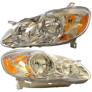 New Pair Left and Right Headlight Assemblies fits 03-04 Toyota Corolla