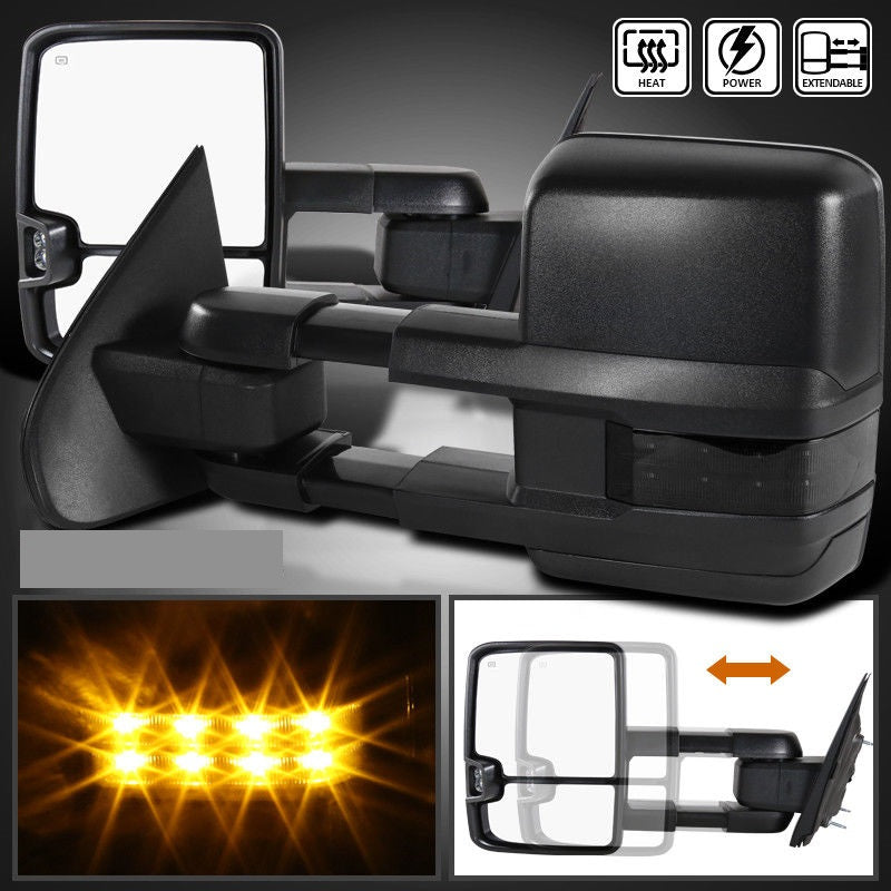 2014-2018 Silverado Sierra POWER+HEATED Extend Towing Mirrors w/Smoke LED Signal