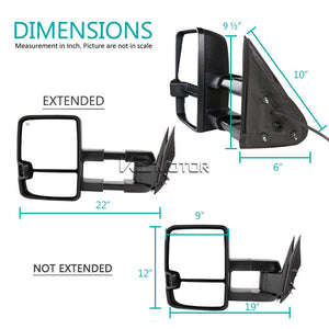 99-02 Silverado Sierra Facelift POWER+HEAT Extended Towing Mirrors w//LED Signal