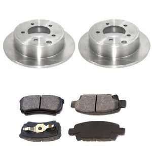 Rear 2 Brake Rotors and 4 Ceramic Brake Pads fits Chrysler Dodge Jeep Mitsubishi