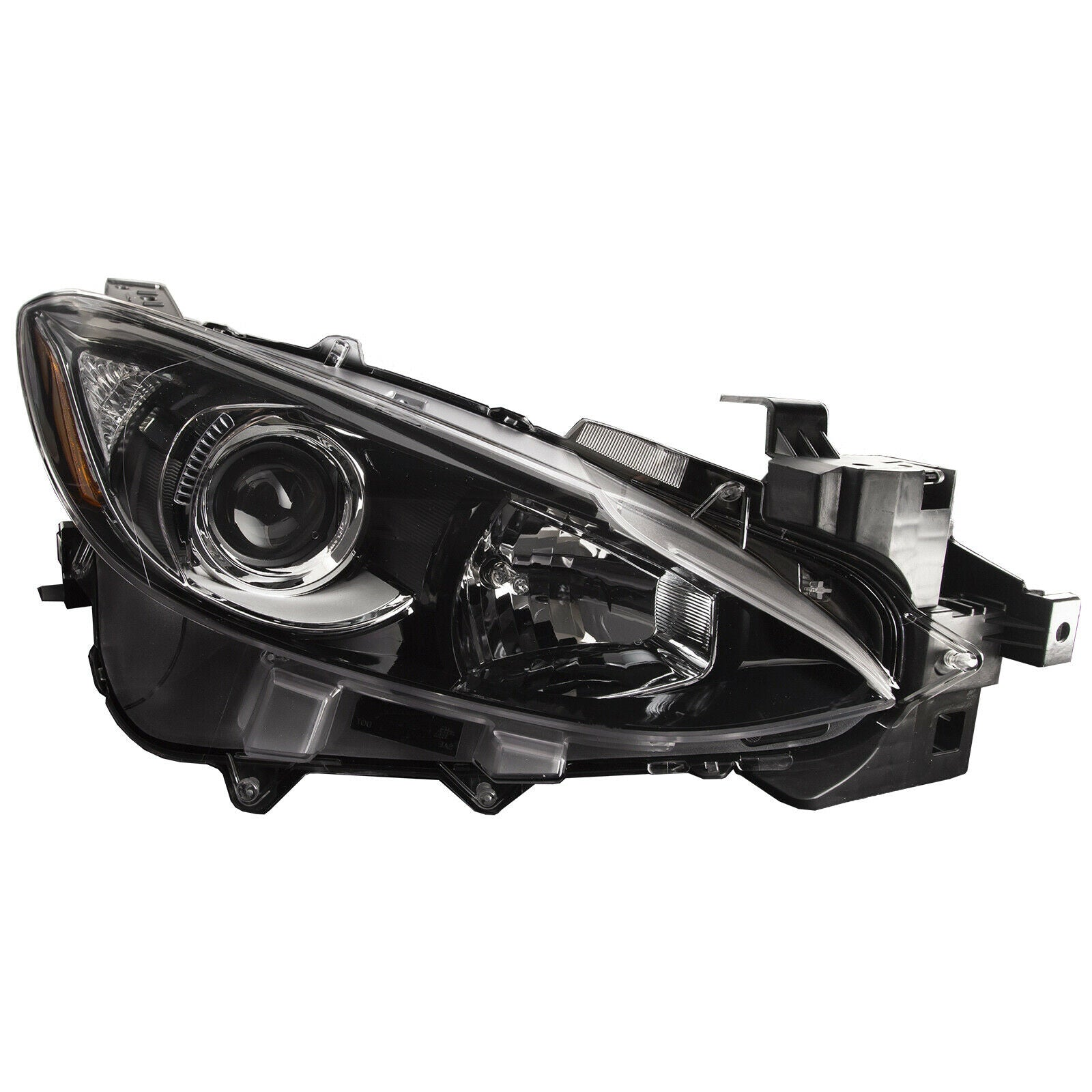 Headlight Halogen Black Housing Right CAPA Fits 2014-2016 Mazda 3 Sedan/Hatch