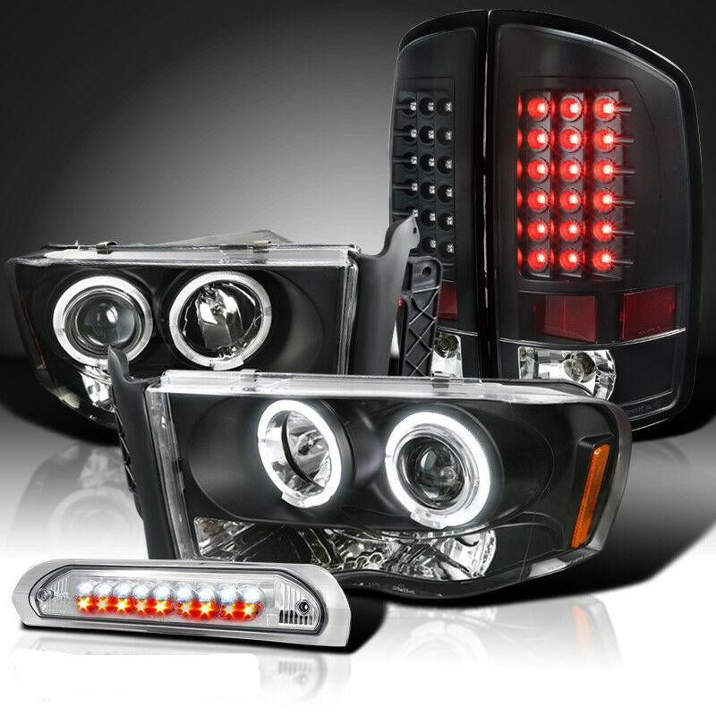 02-05 Ram1500 Black Halo Projector LED Headlight+Tail Lamp+Clear 3rd Brake Light
