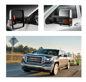 For 07-13 Silverado Sierra Chrome Tow Mirror Power+Heated+LED Signal+Backup lamp