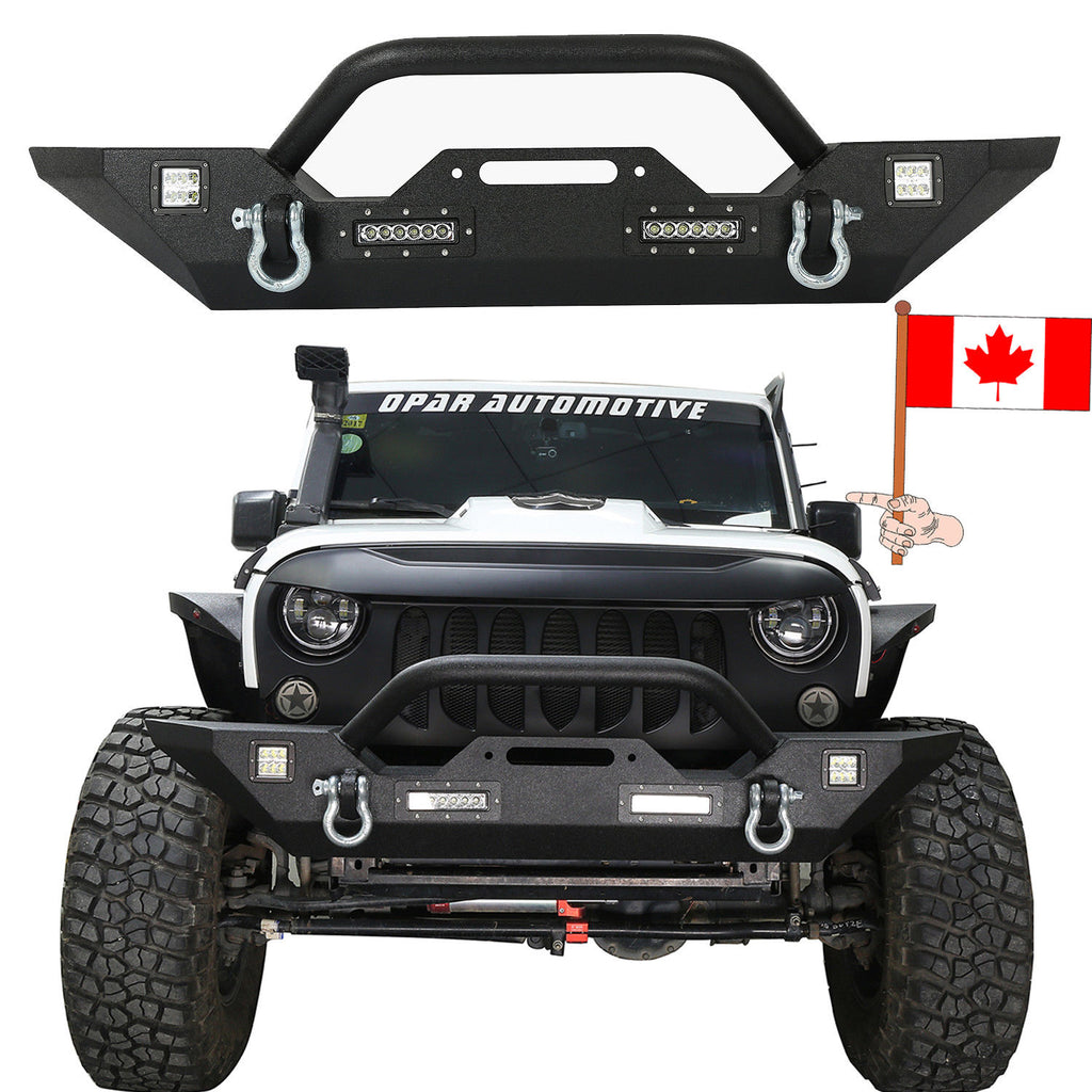 Texture Black Front Bumper Built in Winch Plate For Jeep Wrangler JK 2007-2018