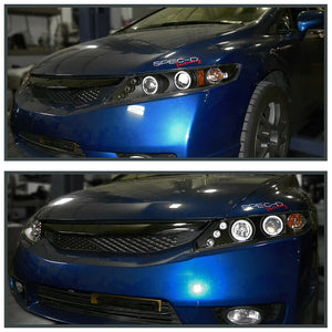 For 2006-2011 Honda Civic 4-Door Sedan LED Halo Projector Headlights Black Pair
