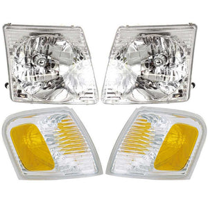 Headlights Headlamps & Signal Marker Lights 4PC Set fits [2001-2005] [Ford]