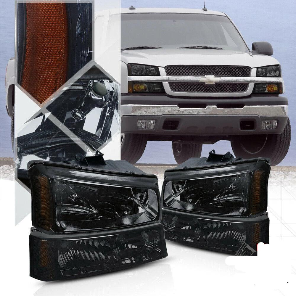 Smoke Tinted Headlight Amber Signal+Bumper for 03-07 Chevy Silverado/Avalanche