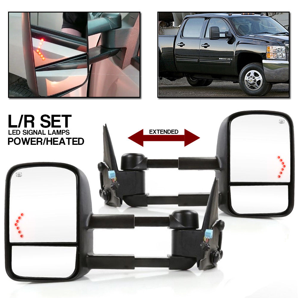 L/R Tow Mirrors Power Heated LED Signal Fit 07-13 Chevy Silverado 1500 2500 3500