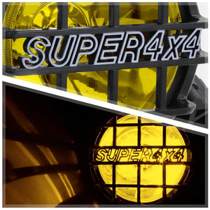 "Yellow Lens 6"" Round Fog Light w/Black 4x4 Offroad Protective Stone Guard+Switch"