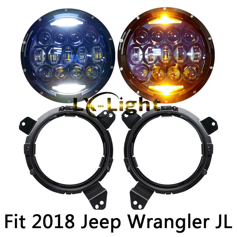 "New 2X 130W 7"" Round Led Headlights 4"" Fog Lights For 2018 2019 Jeep Wrangler JL"