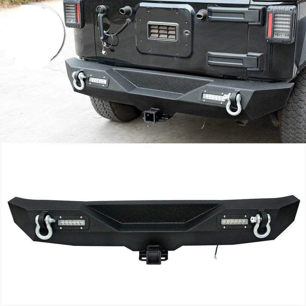 For Jeep Wrangler JK Textured Rear Bumper w/2 LED lights & Hitch Receiver