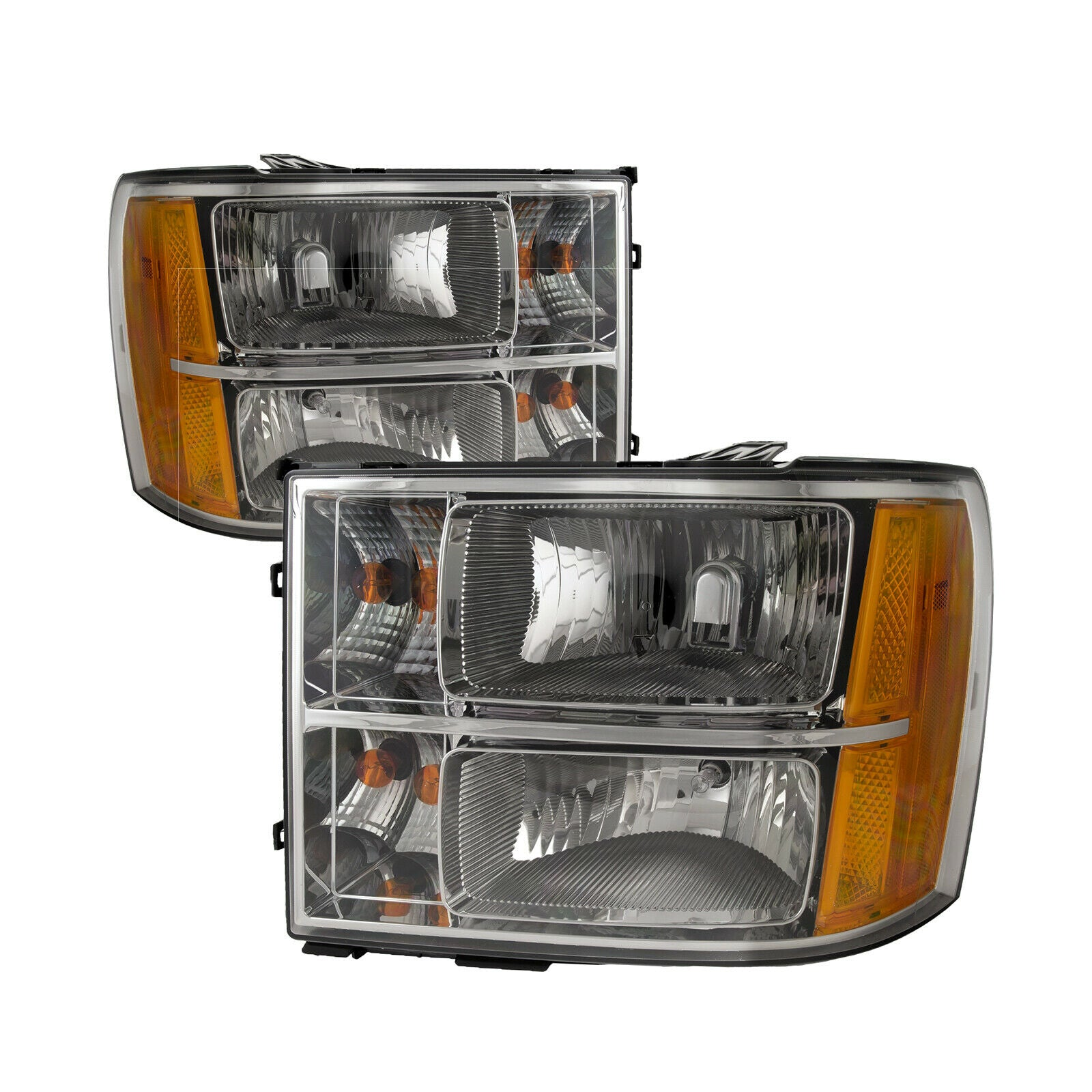 Headlights Chrome Halogen Pair Left Right Set Fits 2007-2014 GMC Sierra