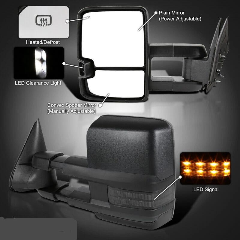1999-2002 Silverado Sierra Facelift POWER+HEATED Tow Mirrors w/Smoke LED Signal