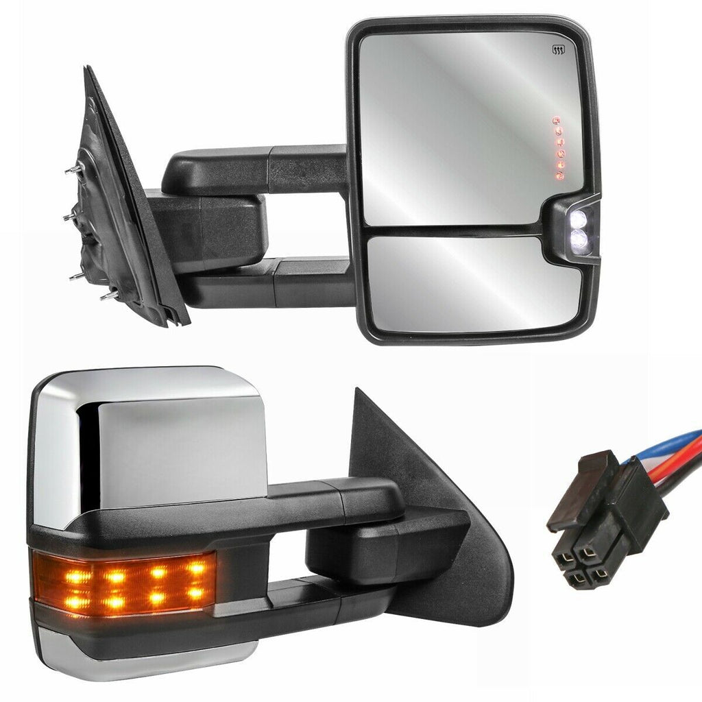 Chrome Power Heated Fold LED Signal Towing Mirrors For 14-18 Chevy Silverado