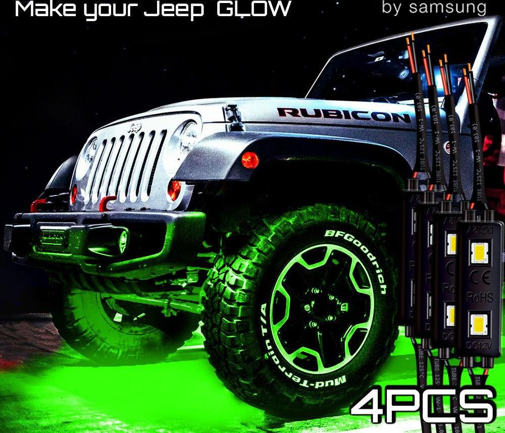 Green LED ATV OFF ROAD Underbody For JEEP Underglow Neon Light Pods 4pc Trucks